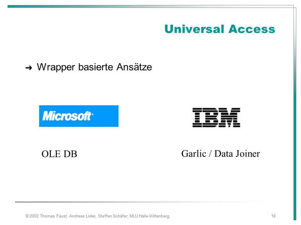 Universal Access Wrapper basierte Ansätze OLE DB Garlic / Data Joiner