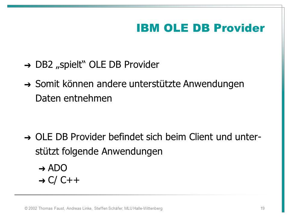 "IBM OLE DB Provider DB2 ""spielt OLE DB Provider"