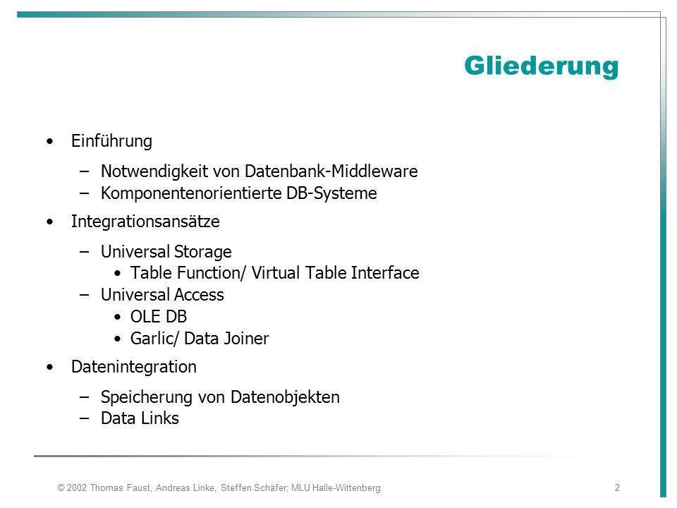 Gliederung Einführung Notwendigkeit von Datenbank-Middleware