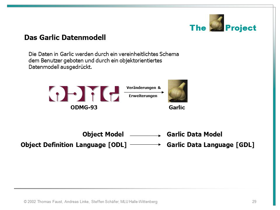 Das Garlic Datenmodell