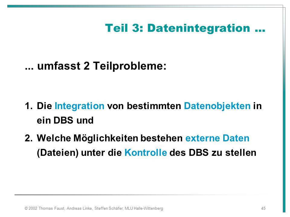Teil 3: Datenintegration ...