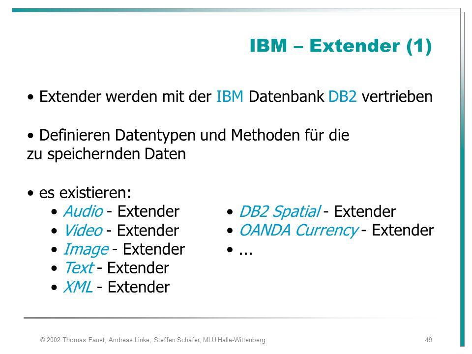 IBM – Extender (1) Extender werden mit der IBM Datenbank DB2 vertrieben. Definieren Datentypen und Methoden für die zu speichernden Daten.