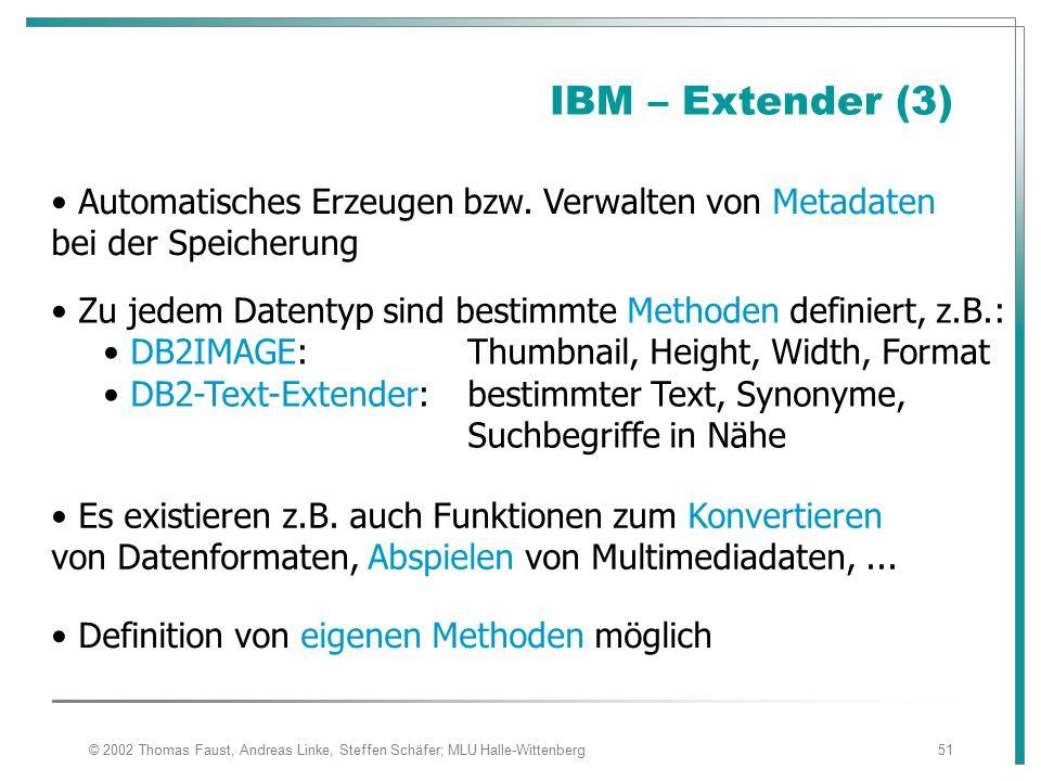 IBM – Extender (3) Automatisches Erzeugen bzw. Verwalten von Metadaten bei der Speicherung.