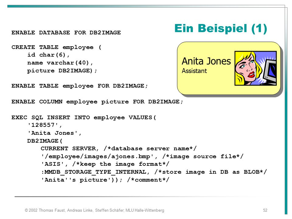 Ein Beispiel (1) Anita Jones Assistant ENABLE DATABASE FOR DB2IMAGE