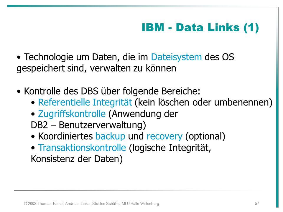 IBM - Data Links (1) Technologie um Daten, die im Dateisystem des OS gespeichert sind, verwalten zu können.