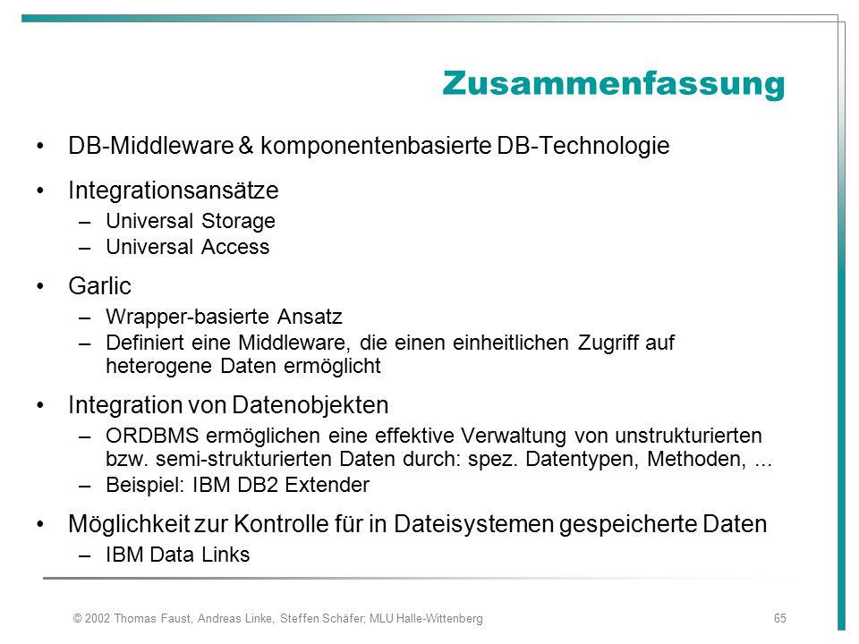 Zusammenfassung DB-Middleware & komponentenbasierte DB-Technologie