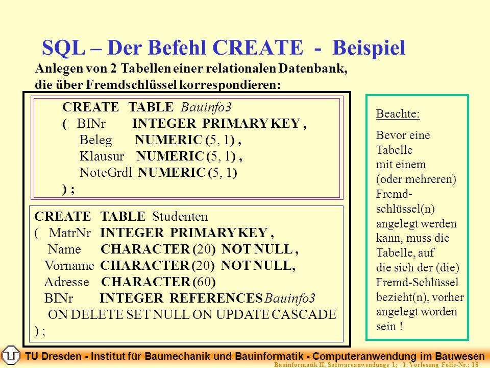 SQL – Der Befehl CREATE - Beispiel