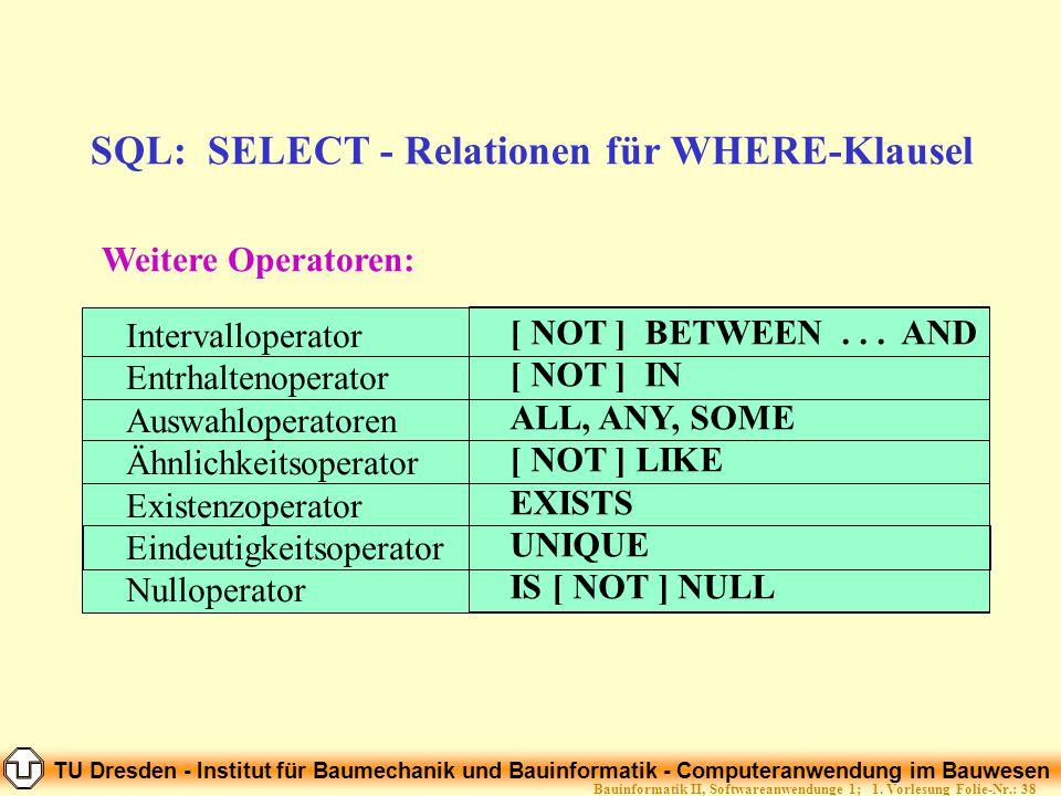 SQL: SELECT - Relationen für WHERE-Klausel