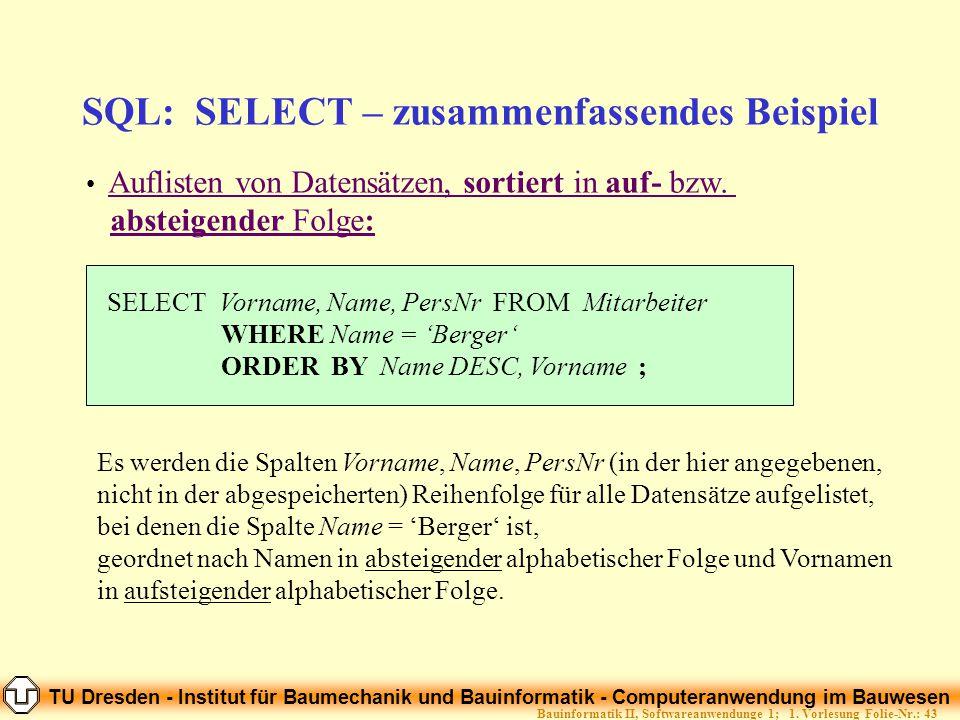 SQL: SELECT – zusammenfassendes Beispiel