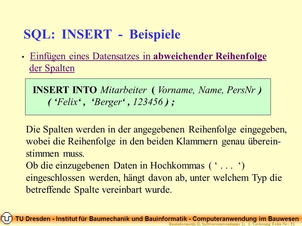 SQL: INSERT - Beispiele