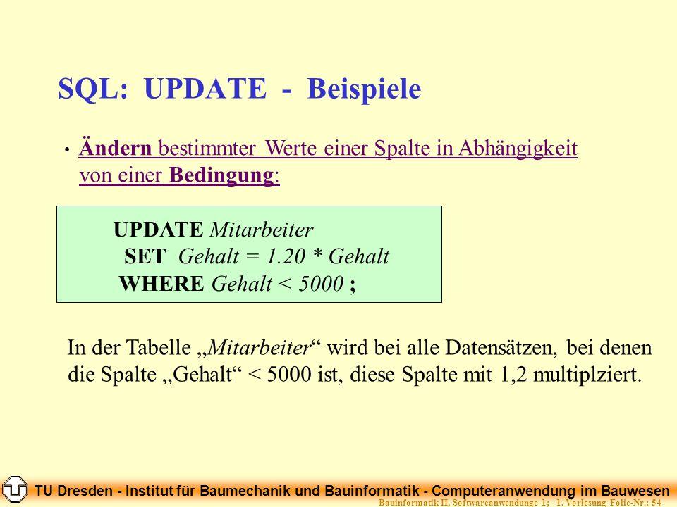 SQL: UPDATE - Beispiele