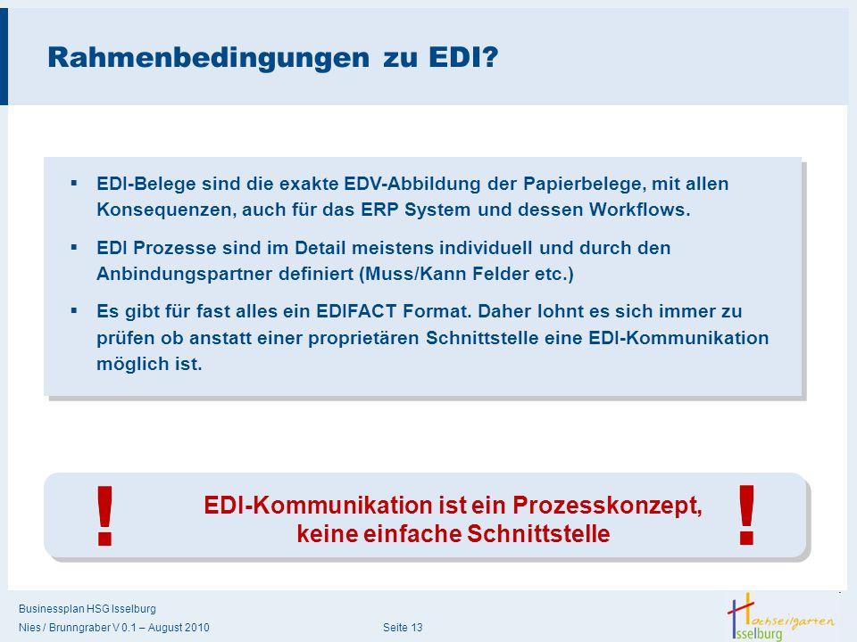 Rahmenbedingungen zu EDI