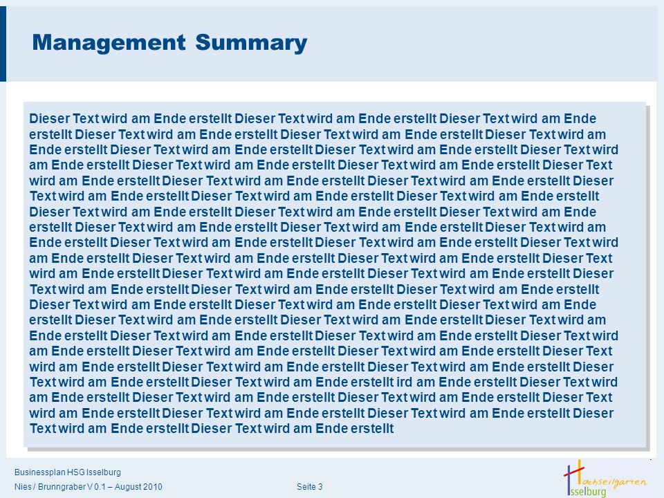 Management Summary