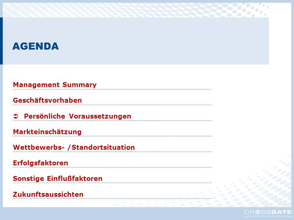 AGENDA Management Summary Geschäftsvorhaben