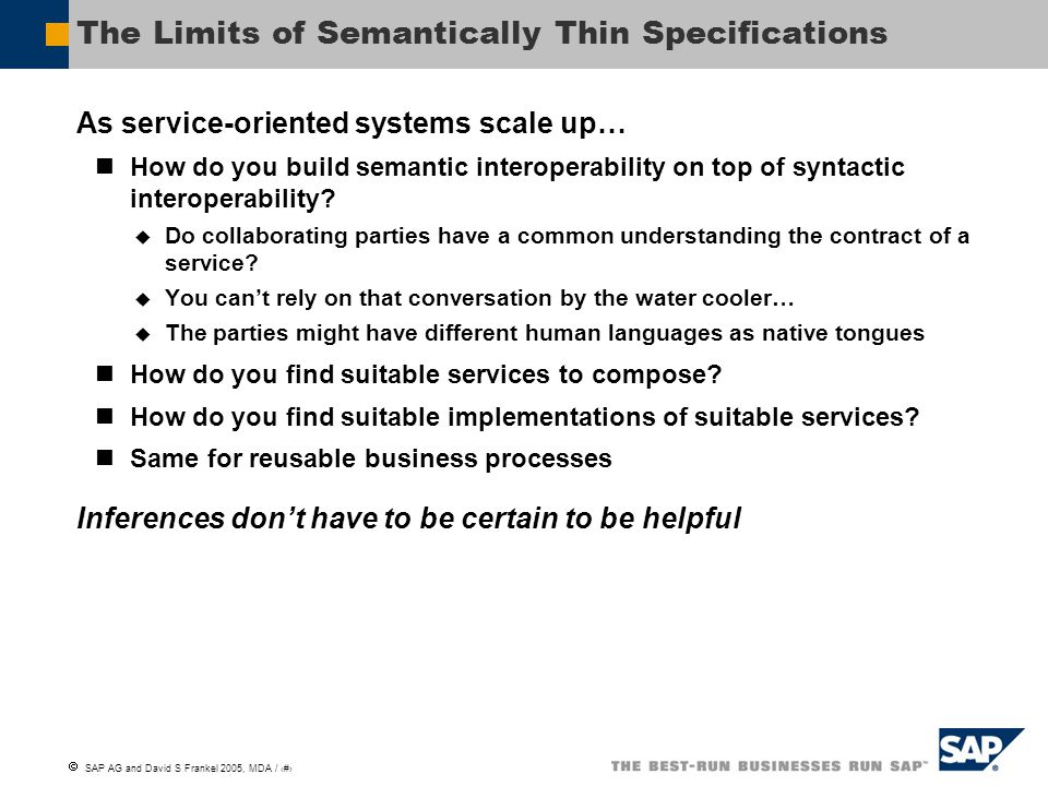 The Limits of Semantically Thin Specifications