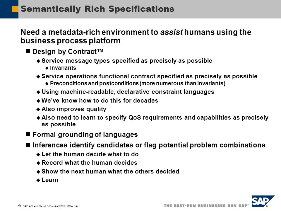 Semantically Rich Specifications