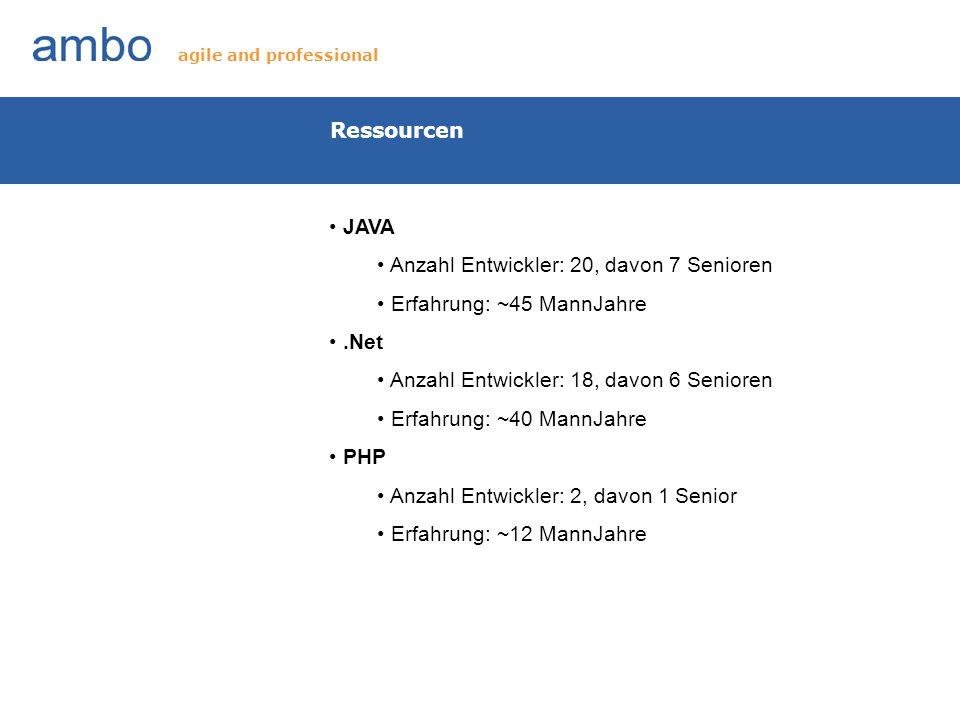 Anzahl Entwickler: 20, davon 7 Senioren Erfahrung: ~45 MannJahre .Net