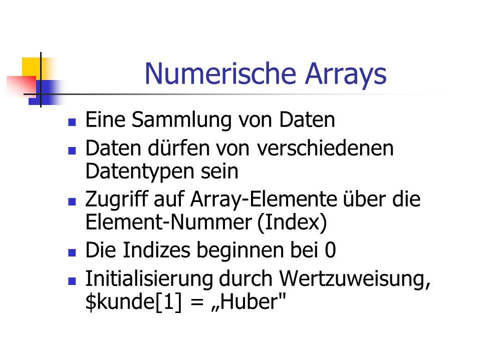 Numerische Arrays Eine Sammlung von Daten