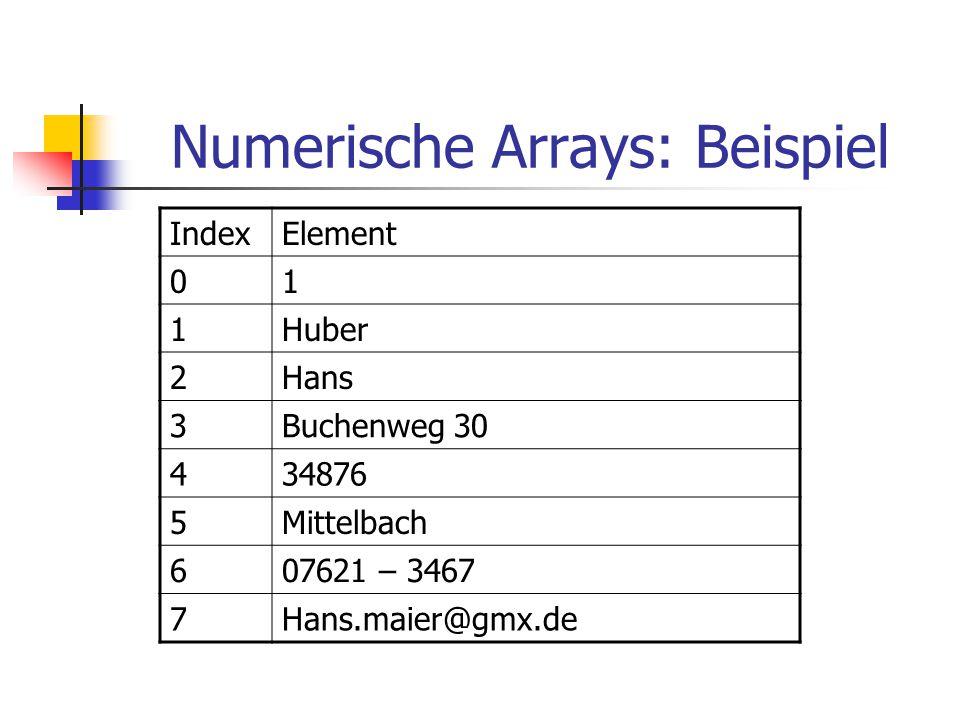 Numerische Arrays: Beispiel