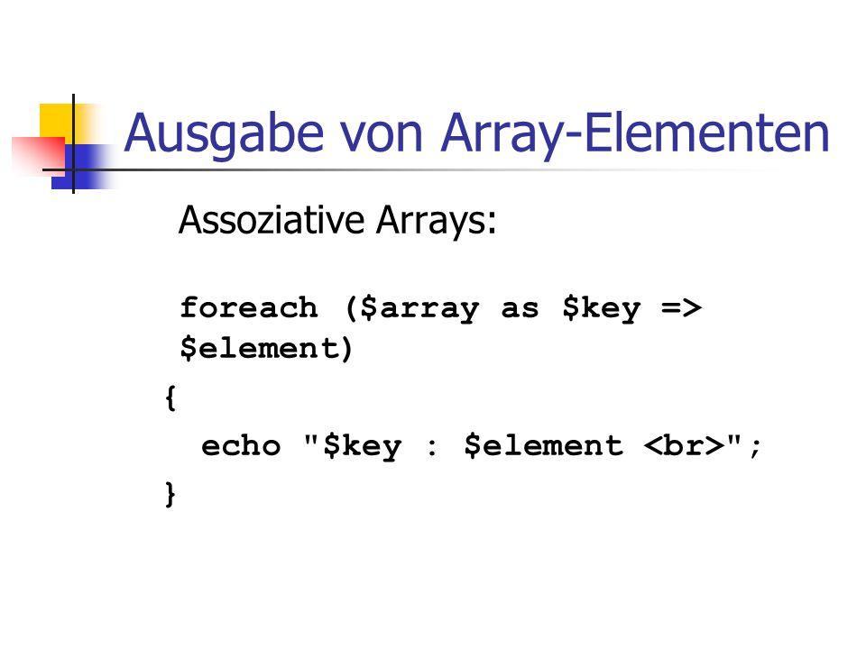 Ausgabe von Array-Elementen