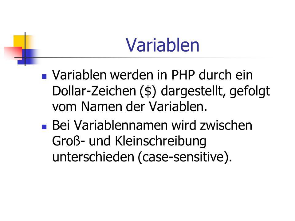 Variablen Variablen werden in PHP durch ein Dollar-Zeichen ($) dargestellt, gefolgt vom Namen der Variablen.