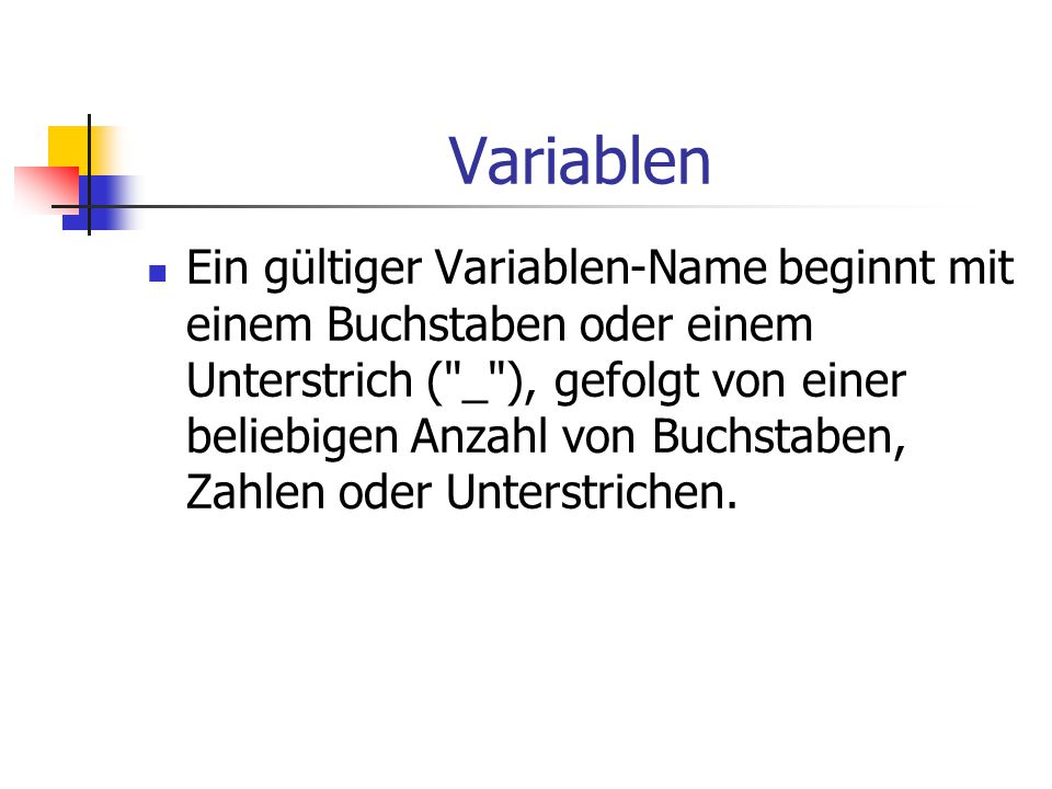 Variablen