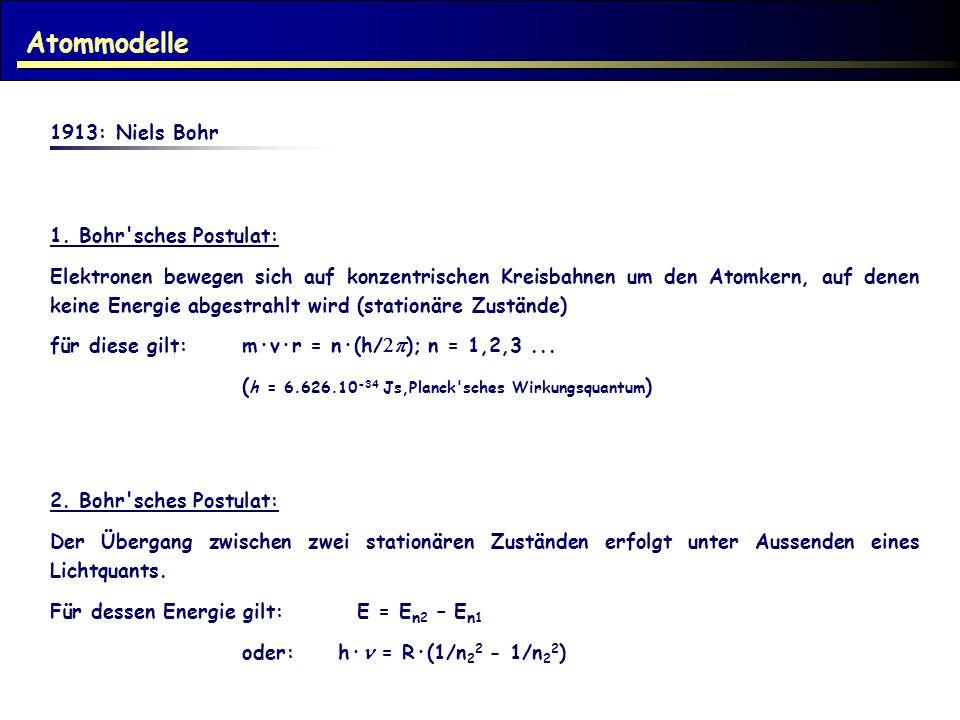 Atommodelle 1913: Niels Bohr 1. Bohr sches Postulat:
