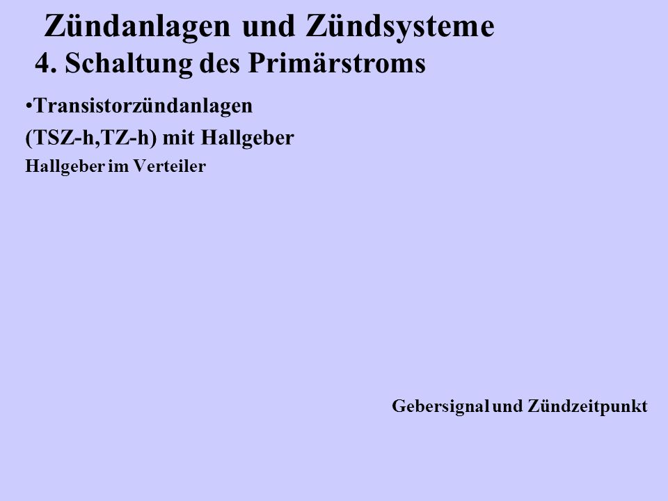 Zündanlagen und Zündsysteme