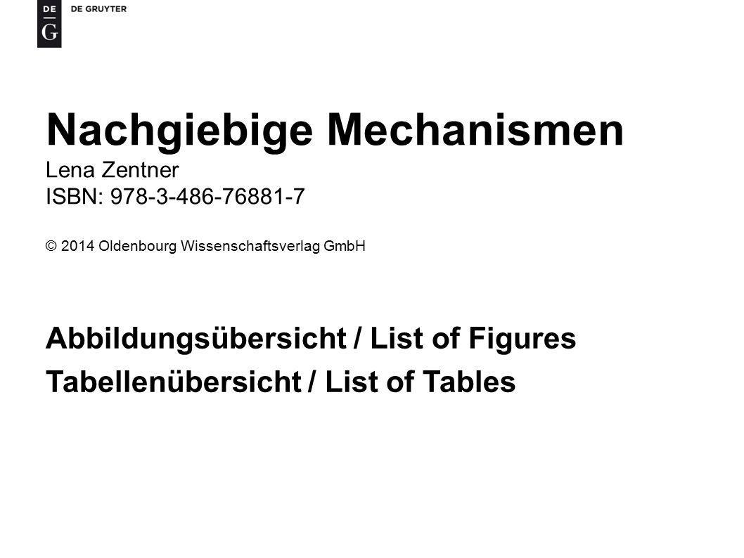 Nachgiebige Mechanismen Lena Zentner ISBN: 978-3-486-76881-7