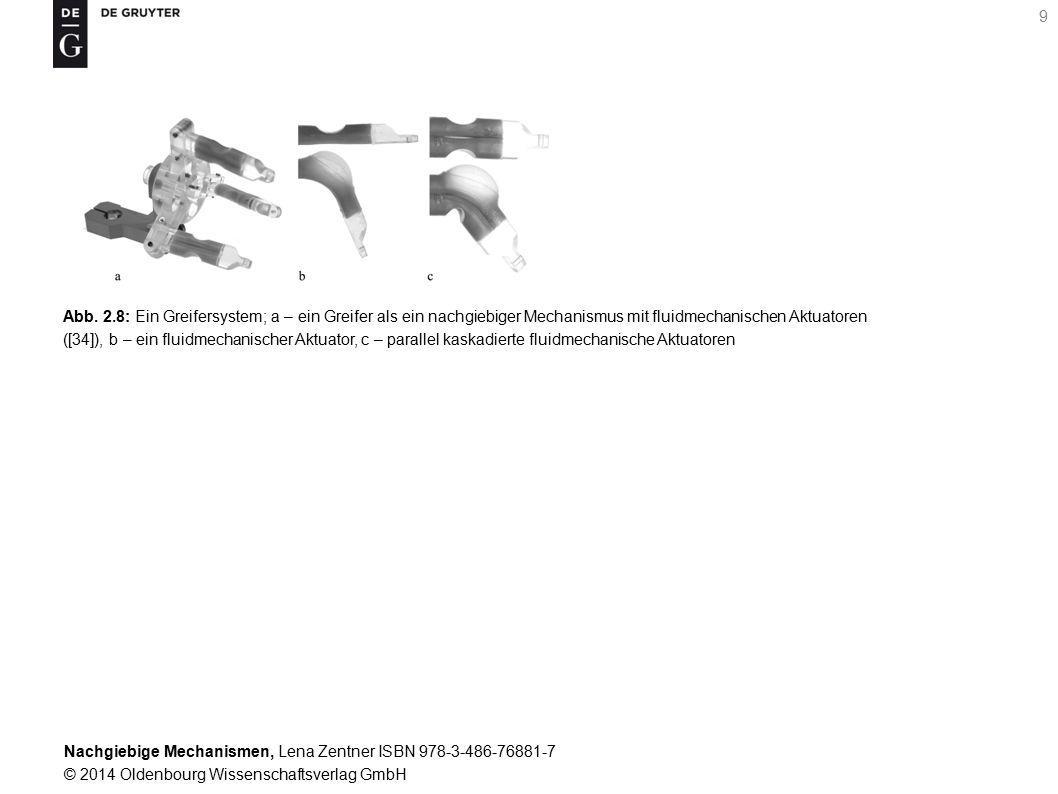 Abb. 2.8: Ein Greifersystem; a – ein Greifer als ein nachgiebiger Mechanismus mit fluidmechanischen Aktuatoren