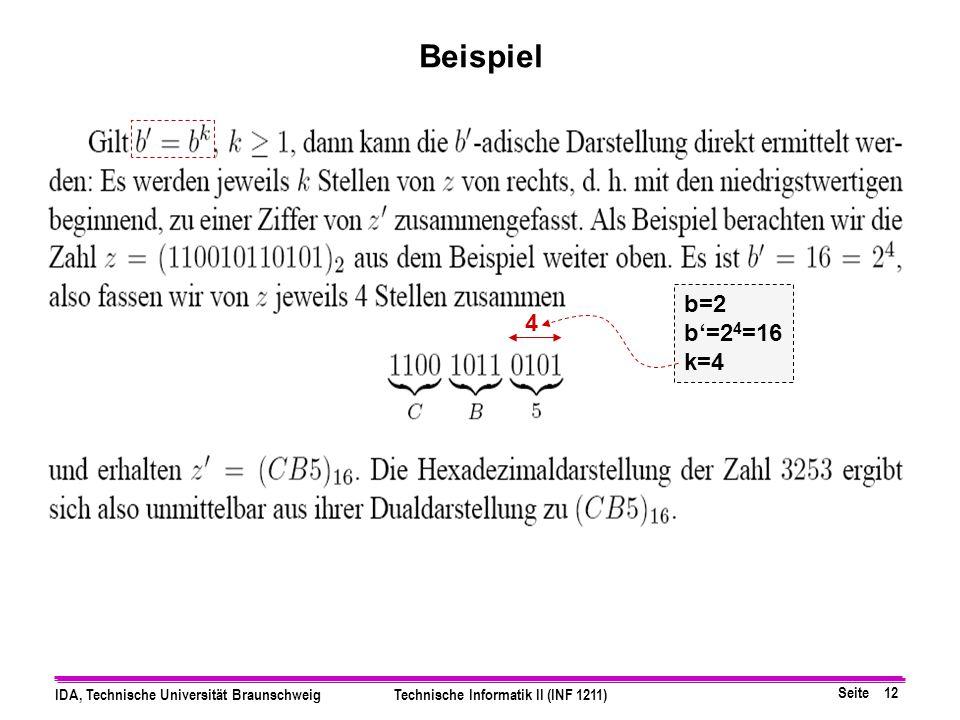 Beispiel b=2 b'=24=16 k=4 4