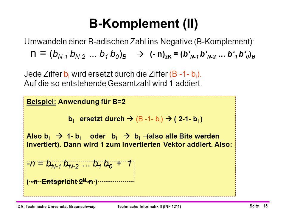 B-Komplement (II) Umwandeln einer B-adischen Zahl ins Negative (B-Komplement):