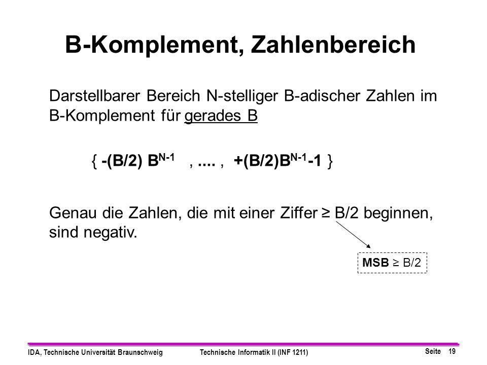 B-Komplement, Zahlenbereich