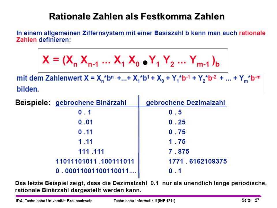 Rationale Zahlen als Festkomma Zahlen