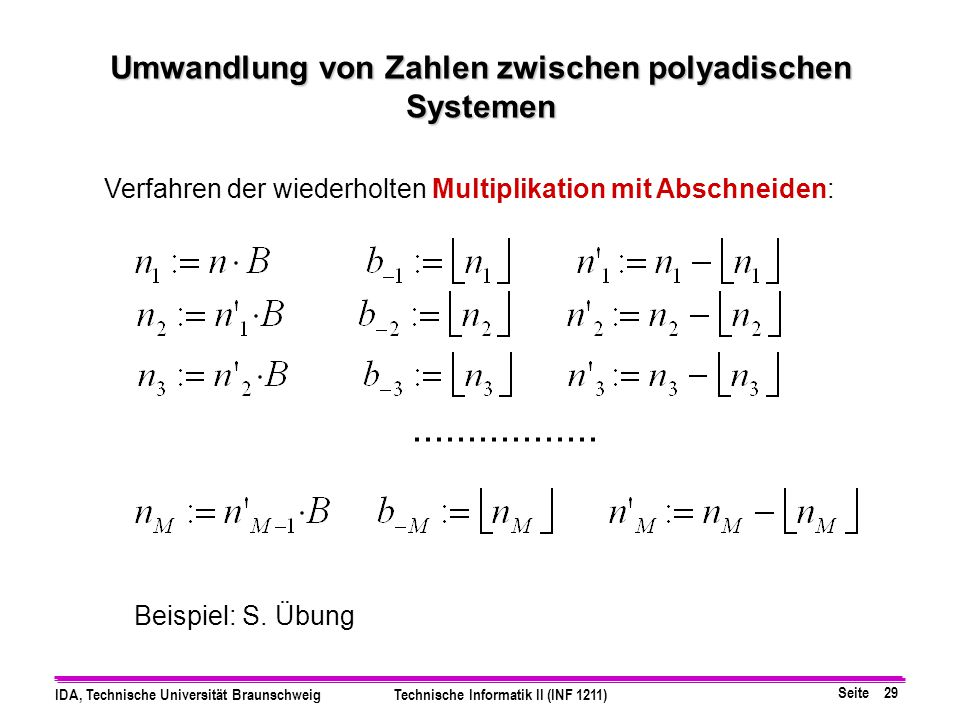 Umwandlung von Zahlen zwischen polyadischen Systemen