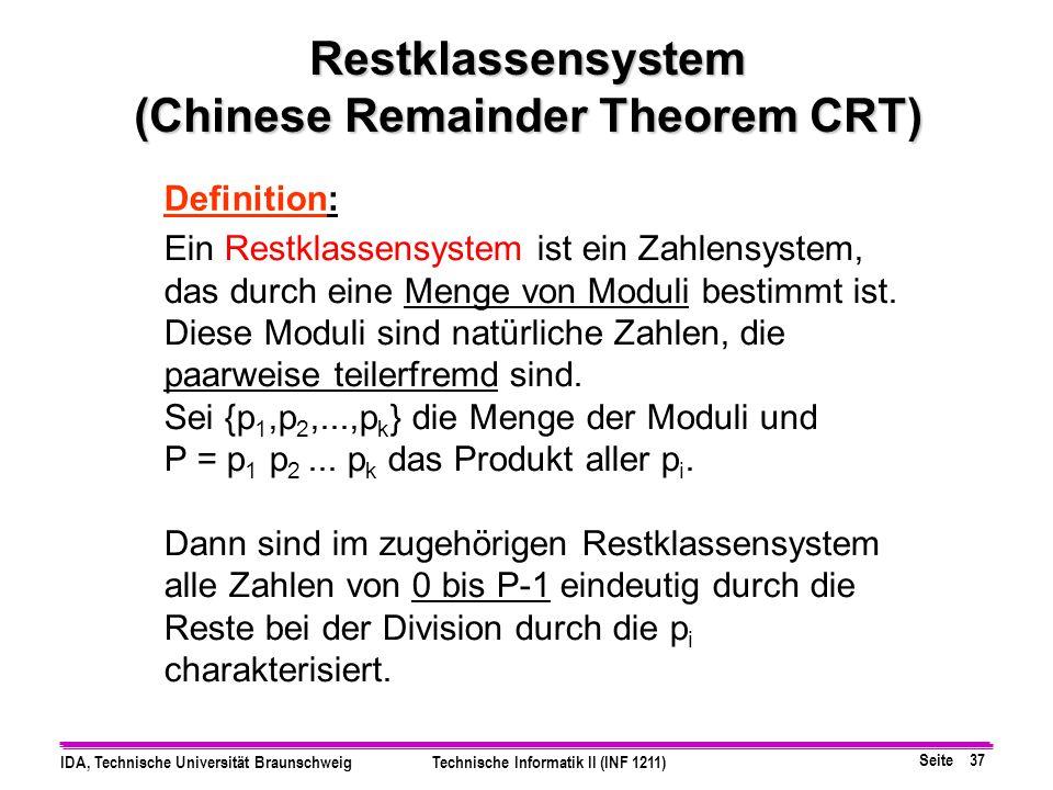 Restklassensystem (Chinese Remainder Theorem CRT)