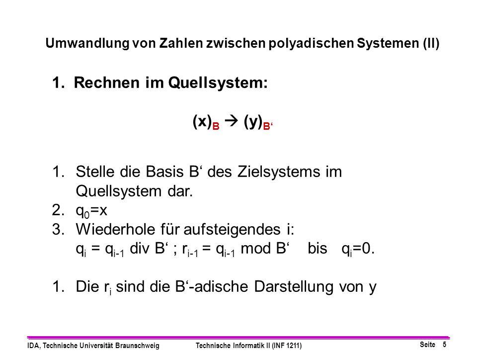 Umwandlung von Zahlen zwischen polyadischen Systemen (II)