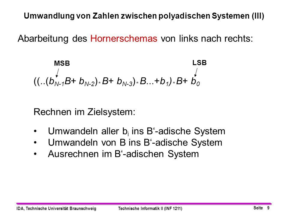 Umwandlung von Zahlen zwischen polyadischen Systemen (III)