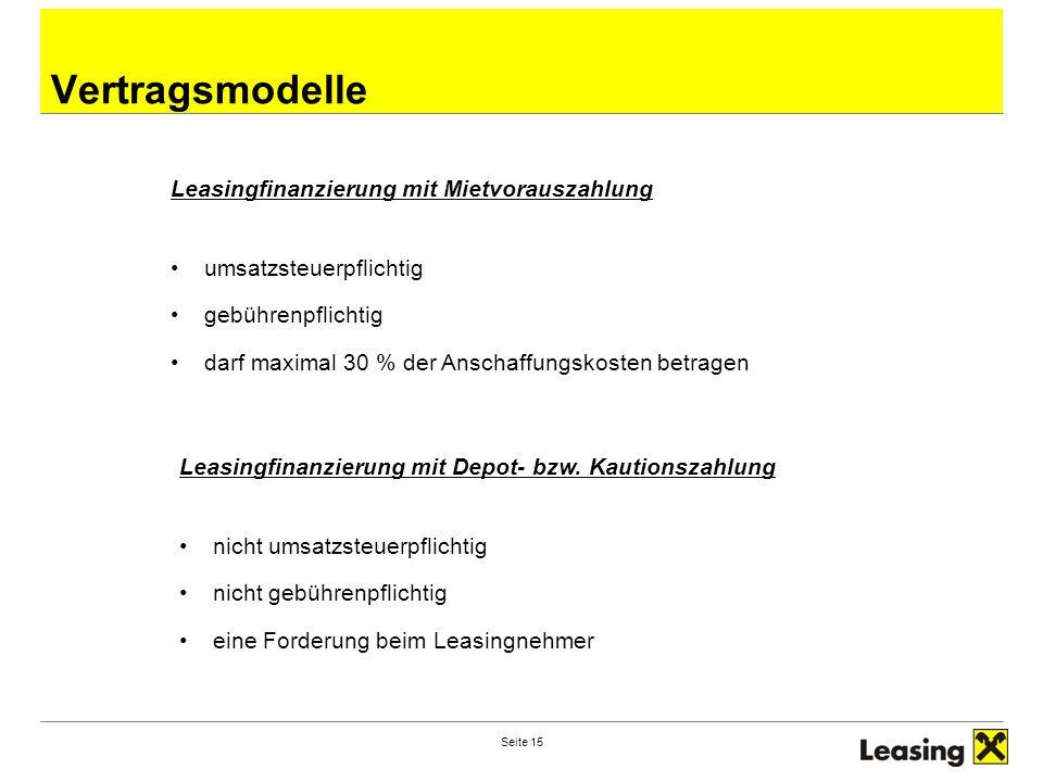 Vertragsmodelle Leasingfinanzierung mit Mietvorauszahlung