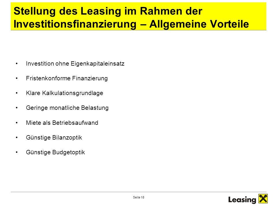Stellung des Leasing im Rahmen der Investitionsfinanzierung – Allgemeine Vorteile