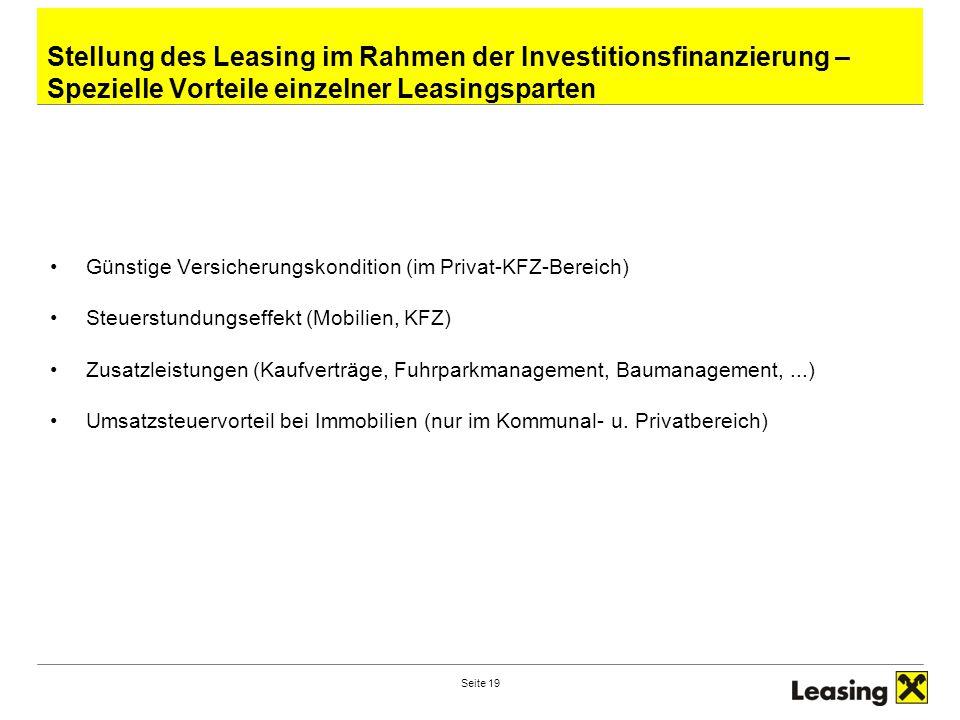 Stellung des Leasing im Rahmen der Investitionsfinanzierung – Spezielle Vorteile einzelner Leasingsparten