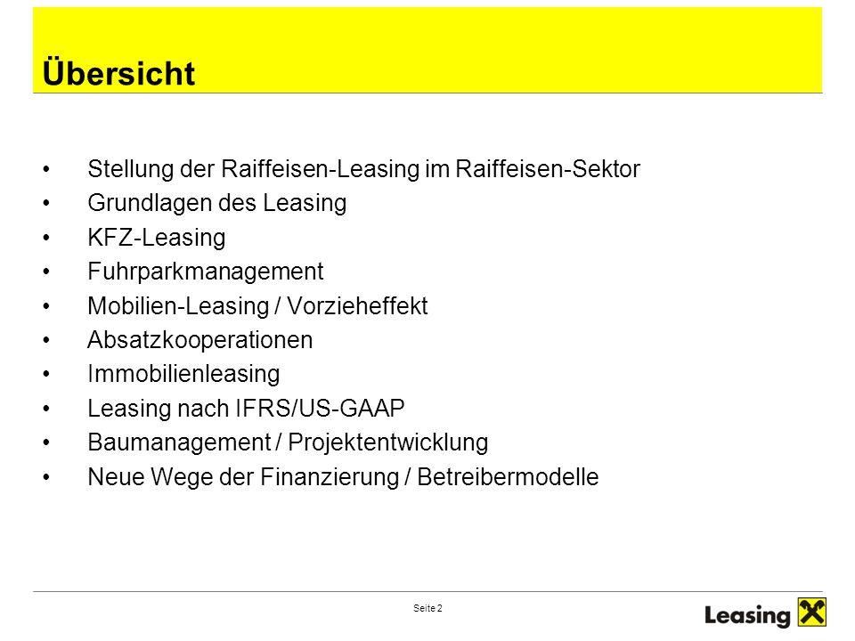 Übersicht Stellung der Raiffeisen-Leasing im Raiffeisen-Sektor