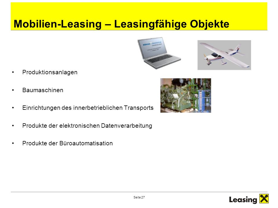 Mobilien-Leasing – Leasingfähige Objekte