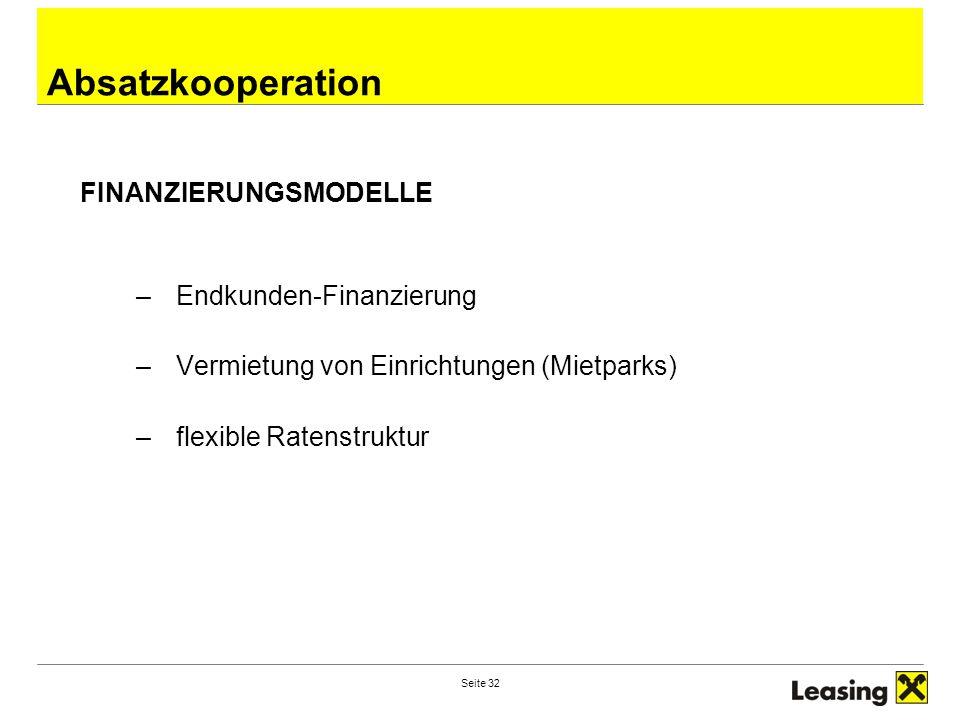 Absatzkooperation FINANZIERUNGSMODELLE Endkunden-Finanzierung