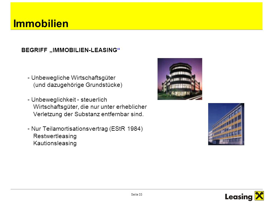 "Immobilien BEGRIFF ""IMMOBILIEN-LEASING"
