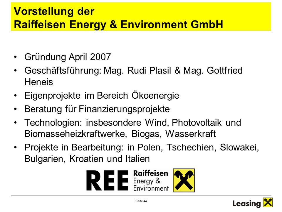 Vorstellung der Raiffeisen Energy & Environment GmbH