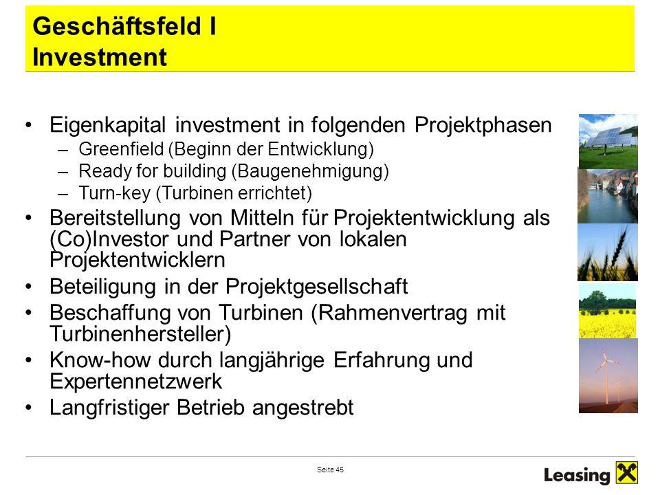 Geschäftsfeld I Investment