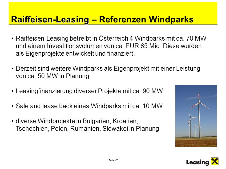 Raiffeisen-Leasing – Referenzen Windparks