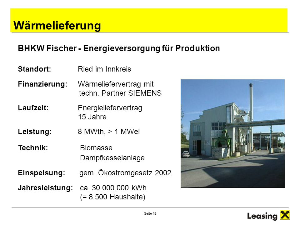Wärmelieferung BHKW Fischer - Energieversorgung für Produktion