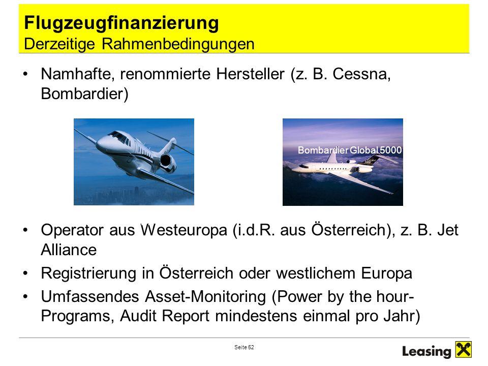 Flugzeugfinanzierung Derzeitige Rahmenbedingungen